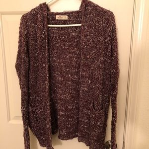 Hollister maroon and white cardigan with pockets
